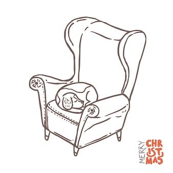 Wiktoriańskie krzesło vintage ze śpiącym psem rasy beagle na nim.