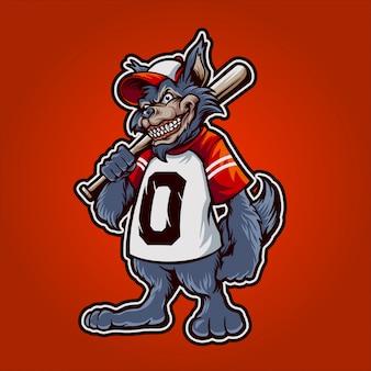 Wilcza maskotka baseballowa