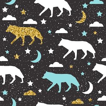 Wilcze tło. złoty, niebieski i biały wilk abstrakcyjny do karty, zaproszenia, albumu, albumu, papieru do pakowania wakacji, tkaniny, odzieży itp. motyw dzikich zwierząt leśnych. złota tekstura.