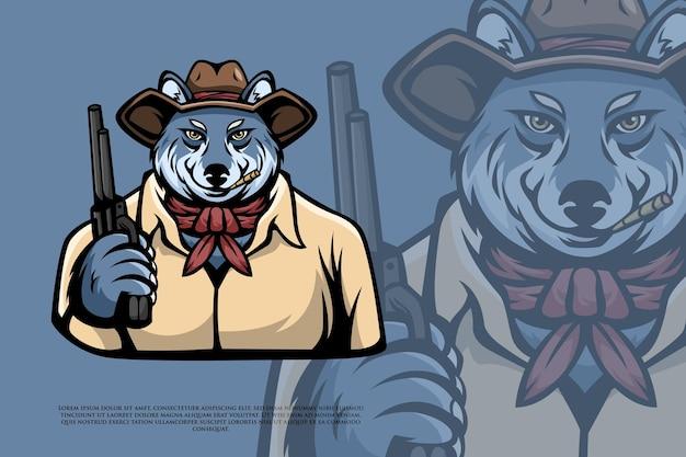 Wilczy kowboj z ilustracją pistoletu