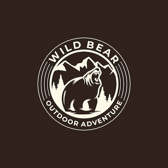 Wild bear logo outdoor adventure