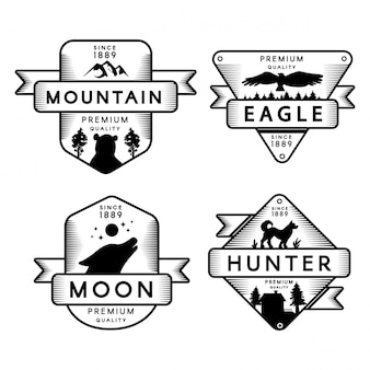 Wild eagle and hunter, moon and mountain set logo