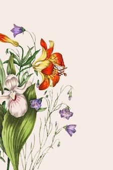 Wild orange red lily, harebell i showy ladys slipper wektor bukiet kwiatów
