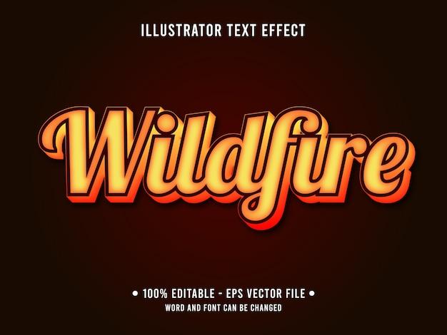 Wildfire edytowalny efekt tekstowy w nowoczesnym stylu z gradientowym kolorem pomarańczowym