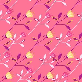 Wildflower moda wzór na czerwonym tle. streszczenie projektu botanicznego.