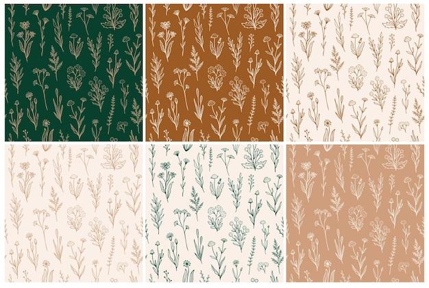Wildflower wzór zestaw z florals konspektu. kolekcja nadruków w stylu retro z ręcznie rysowane kwiaty w rustykalnych kolorach. proste kwiatowe wzory polowe do tapet, opakowań, projektowania tkanin