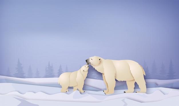 Wildlife winter scenes with polar bear