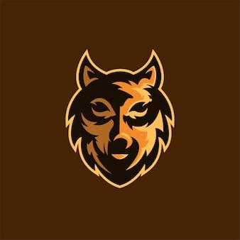 Wilk głowa zwierzęcia kreskówka logo szablon ilustracja esport logo gry wektor premium