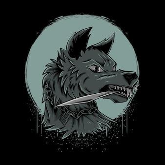 Wilk gryzący nóż z ilustracją księżyca