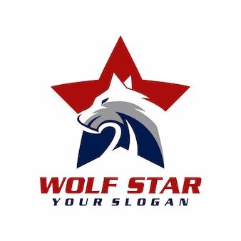 Wilk gwiazda logo wektor, szablon, ilustracja