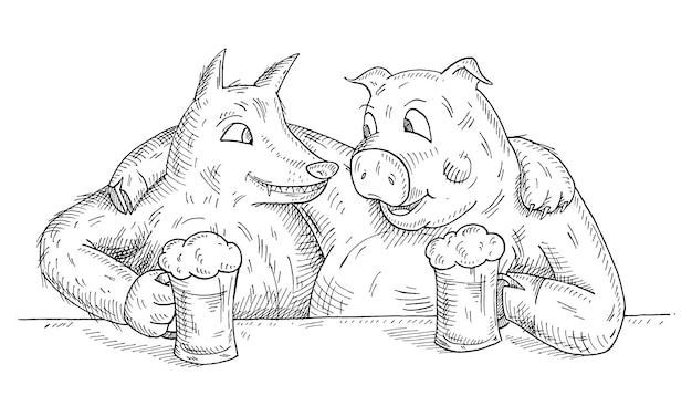 Wilk i świnia przytulali się i podnosili szklanki z piwem. ikona kolor płaski kreskówka