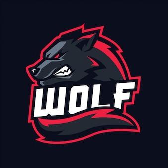 Wilk maskotka dla sportu i e-sportu logo na białym tle