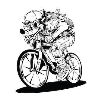 Wilk na rowerze, łowcy wilków jeżdżą na rowerze