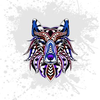 Wilk ozdobiony abstrakcyjnymi kształtami
