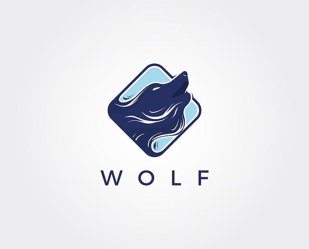 Wilk streszczenie szablon projektowanie logo. prosty styl mieszkania.