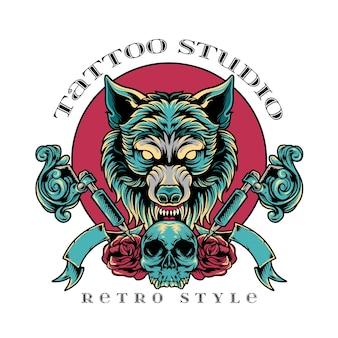 Wilk studio tatuażu w stylu retro