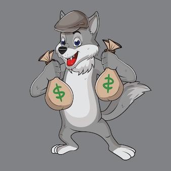 Wilk szary popiół zabawny złodziej