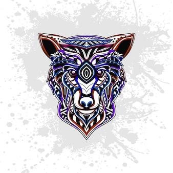 Wilk z abstrakcyjny wzór dekoracyjny