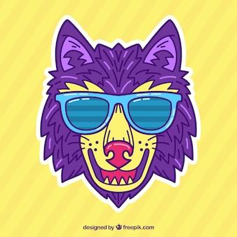 Wilk z ręcznie narysowanymi okularami przeciwsłonecznymi