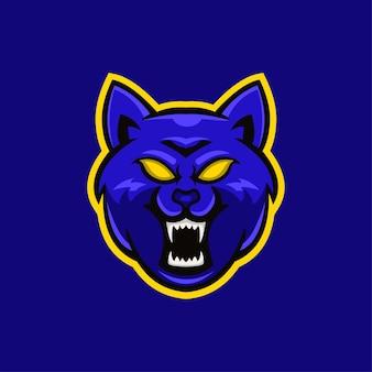 Wilk zwierzę głowa kreskówka logo szablon ilustracja. gry z logo e-sportu premium wektor