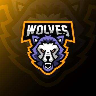 Wilki maskotka logo esport hazard ilustracja.