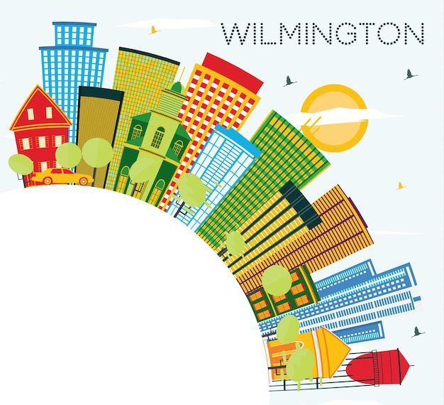 Wilmington delaware city skyline z kolorowymi budynkami, błękitnym niebem i przestrzenią kopiowania. ilustracja wektorowa. podróże służbowe i koncepcja turystyki z nowoczesnymi budynkami. gród wilmington z zabytkami.