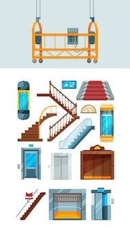 Winda. budowanie schodów mechanizm podnoszenia mieszkania wektor kolekcja wind