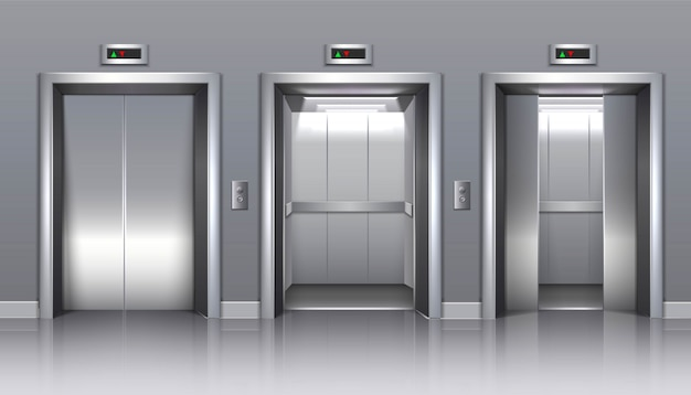 Winda budynku biurowego z zamkniętymi, otwartymi lub częściowo zamkniętymi drzwiami.