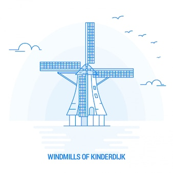 Windmills of kinderdijk blue landmark