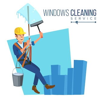 Windows cleaning worker