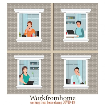 Windows z pracownikami pracuje z domu, aby uniknąć rozprzestrzeniania się covid-19.
