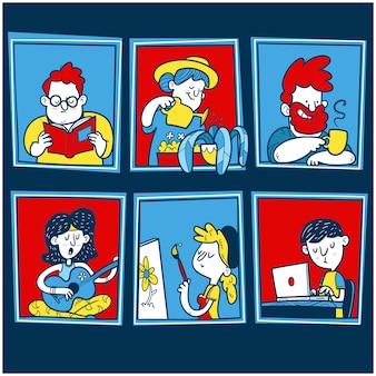 Windows z różnymi ludźmi. różni ludzie przebywający w domu w celu ochrony przed koronawirusem.