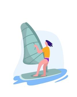 Windsurfer ścigający się przez fale. koncepcja ekstremalnego surfera
