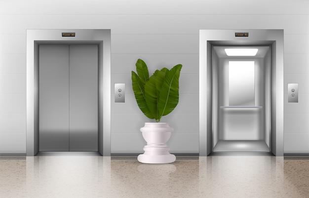 Windy biurowe. realistyczne metalowe windy biurowe w holu z otwartymi i zamkniętymi drzwiami, guzikami, rośliną doniczkową. architektura wnętrz pięter