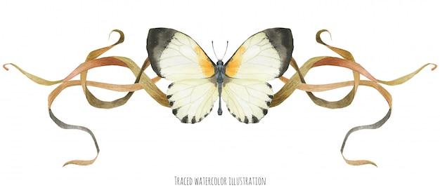 Winieta z motylem i roślinami