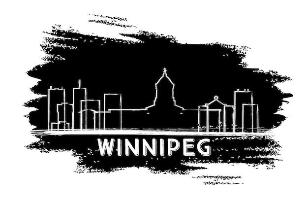 Winnipeg kanada skyline sylwetka. ręcznie rysowane szkic. ilustracja wektorowa. podróże służbowe i koncepcja turystyki z nowoczesną architekturą. obraz banera prezentacji i witryny sieci web.