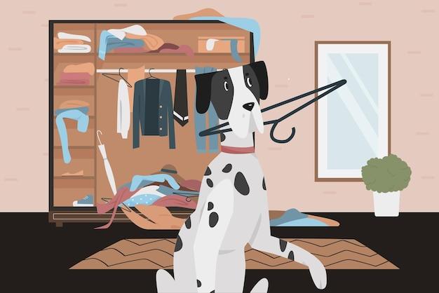 Winny, niegrzeczny pies o złych nawykach zachowanie zabawny dalmatyńczyk trzymający w zębach wieszak na ubrania