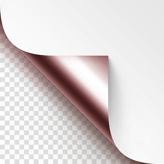 Winny zwinięty narożnik folii błyszczący biały papier z makiety cienia bliska na białym tle na przezroczystym tle