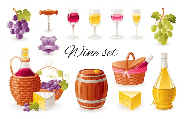 Wino co ikony kreskówka. zestaw do napojów alkoholowych z winogronami, butelkami wina, szklankami, beczką, serem.