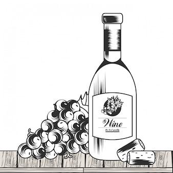 Wino czarno-biały rysunek