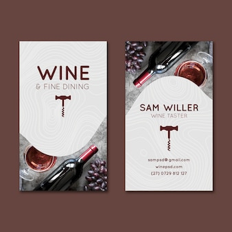 Wino dwustronna pionowa wizytówka