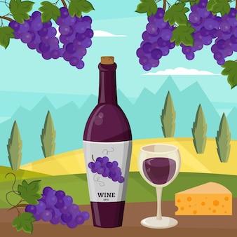 Wino i winogrona winiarstwo wektor zestaw ilustracji