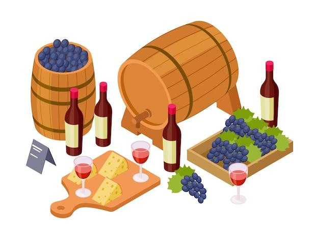 Wino izometryczne, drewniane beczki, kieliszki i winogrona