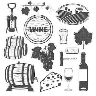 Wino monochromatyczne obiekty zestaw z winorośli drewniane beczki kiść winogron ser szyld korkociągi na białym tle