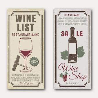 Wino pionowe banery z kiść butelki i szkła winogron