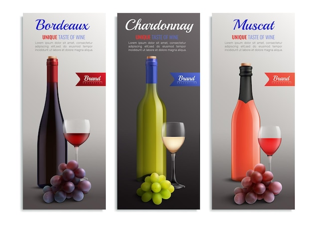 Wino realistyczne pionowe banery z prezentacją wyjątkowego smaku odmiany bordo chardonnay muskat