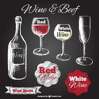 Wino ręcznie rysowane ilustracje na tablicy