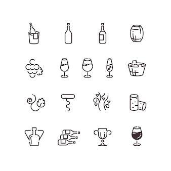 Wino sommelier winnicy cienka linia wektorowe ikony