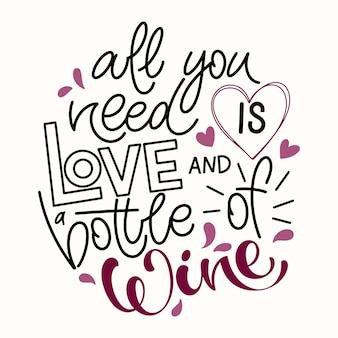 Wino wektor strony napis cytat. inspirująca typografia do baru, menu pubowego, nadruków, etykiet i projektowania logo.