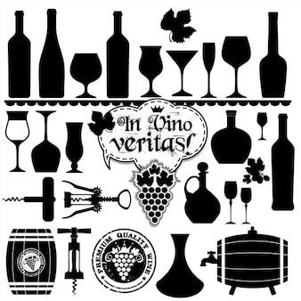 Wino zestaw design element